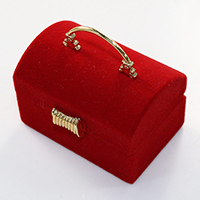 Velveteen Ring Box, with Glue Film & Copper Coated Plastic, gold color plated, red, 56x51x40mm, Sold By PC