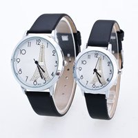 Couple Watch Bracelets, Cowhide, with Glass & Zinc Alloy, platinum color plated, different size for choice & for couple, Sold By PC