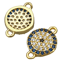 Cubic Zirconia Micro Pave Brass Connector, Flat Round, real gold plated, micro pave cubic zirconia & 1/1 loop, 13x9x2mm, Hole:Approx 1mm, Sold By PC
