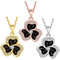 comeon® Jewelry Necklace, Zinc Alloy, with 2.5 lnch extender chain, Three Leaf Clover, plated, oval chain & enamel & with rhinestone, more colors for choice, 20x29mm, Length:Approx 18 Inch, Sold By Strand