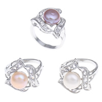Cultured Freshwater Pearl Finger Ring, Brass, with Freshwater Pearl, platinum color plated, natural & with cubic zirconia, mixed colors, nickel, lead & cadmium free, 9-10mm, 19x26x20mm, 220x35x140mm, US Ring Size:7, 36PCs/Box, Sold By Box