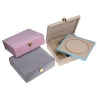 Multifunctional Jewelry Box, Cardboard, with Velveteen & Zinc Alloy, Rectangle, gold color plated, 218x65x195mm, Sold By PC