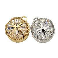 Cubic Zirconia (CZ) Zinc Alloy Pendants, Flower, plated, with cubic zirconia, more colors for choice, 14.5x17x8mm, Hole:Approx 3mm, Sold By PC