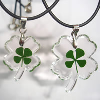 Couple Jewelry Necklace, Nylon Cord, with Resin & Zinc Alloy, Four Leaf Clover, platinum color plated, four leaf clover design, 26x32mm,19x25mm, Length:Approx 18 Inch, 2Strands/Set, Sold By Set
