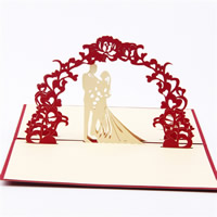 Paper 3D Greeting Card, Couple, 3D effect & with letter pattern, red, 100x150mm, Sold By PC