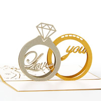 Paper 3D Greeting Card, ring shape, word love you, 3D effect, gold, 148x97mm, Sold By PC