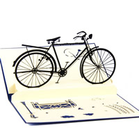 Paper 3D Greeting Card, Bike, 3D effect, blue, 99x149mm, Sold By PC