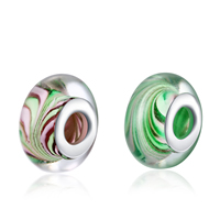comeon® Jewelry Beads, Lampwork, Rondelle, sterling silver double core without troll, more colors for choice, 8x15mm, Hole:Approx 5mm, Sold By PC