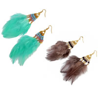 Fashion Feather Earring , with Resin & Zinc Alloy, iron earring hook, gold color plated, Bohemian style, more colors for choice, 120mm, Sold By Pair