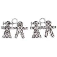 Zinc Alloy Couple Pendant, platinum color plated, with rhinestone, lead & cadmium free, 19x16x2mm, Hole:Approx 2mm, Sold By PC