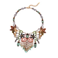 Fashion Statement Necklace, Zinc Alloy, with Resin, with 2.7 lnch extender chain, antique bronze color plated, with rhinestone, Length:Approx 16.5 Inch, Sold By Strand