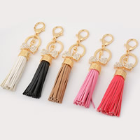 PU Key Chain, Zinc Alloy, with PU, Tassel, gold color plated, with rhinestone, more colors for choice, 35x170mm, Sold By PC