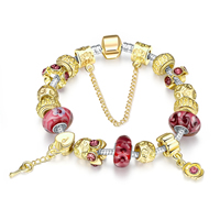 comeon® Jewelry Bracelet, Zinc Alloy, with brass chain & Lampwork, Lock and Key, plated, with rhinestone, 8x10mm, Length:Approx 7.8 Inch, Sold By Strand