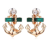 Zinc Alloy Rhinestone Stud Earring, with Crystal, brass post pin, Anchor, rose gold color plated, faceted & with rhinestone, 17mm, Sold By Pair