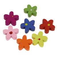 Dyed Wood Beads, Star, printing, mixed colors, 17x5mm, Hole:Approx 1mm, 1000PCs/Bag, Sold By Bag