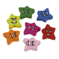 Wood Smile Face Pattern Bead, Star, printing, mixed colors, 18x20x4mm, Hole:Approx 1mm, 1000PCs/Bag, Sold By Bag