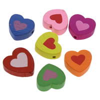 Dyed Wood Beads, Heart, printing, mixed colors, 18x5mm, Hole:Approx 1mm, 1000PCs/Bag, Sold By Bag
