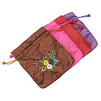 Silk Drawstring Pouches, with Nylon Cord, Rectangle, Embroidery, more colors for choice, 124x145x5mm, Sold By PC
