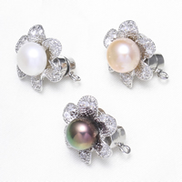 Magnetic Earring, Brass, with Magnetic Hematite & Freshwater Pearl, Flower, platinum color plated, with cubic zirconia, more colors for choice, nickel, lead & cadmium free, 21x25x20mm, Hole:Approx 2mm, Sold By PC