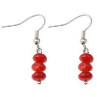 Coral Drop Earring, Natural Coral, iron earring hook, platinum color plated, natural, red, 6x34mm, Sold By Pair