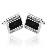 Zinc Alloy Cufflinks, platinum color plated, enamel & with rhinestone, 18x20mm, Sold By Pair