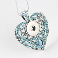 Zinc Alloy Chunk Button Pendant Setting, with ABS Plastic Pearl, Heart, antique silver color plated, with rhinestone, lead & cadmium free, 18mm, Hole:Approx 5mm, Inner Diameter:Approx 6mm, Sold By PC