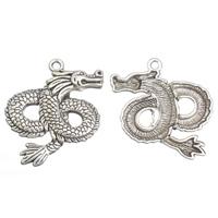Zinc Alloy Animal Pendants, Dragon, antique silver color plated, enamel, lead & cadmium free, 40x45x5mm, Hole:Approx 2mm, 10PCs/Bag, Sold By Bag
