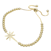 Cubic Zirconia Micro Pave Brass Bracelet, Flower, real gold plated, adjustable & box chain & micro pave cubic zirconia, 26x16x2mm, 3.5x4x3.5mm, 7.5x4x7.5mm, Length:5-10 Inch, Sold By Strand