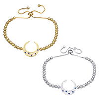 Cubic Zirconia Micro Pave Brass Bracelet, Moon, plated, adjustable & box chain & micro pave cubic zirconia, more colors for choice, 20x20x1.5mm, 3.5x4x3.5mm, 7.5x4x7.5mm, Length:5-10 Inch, Sold By Strand