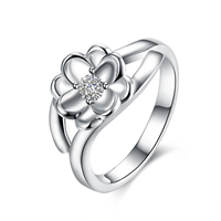 comeon® Finger Ring, Brass, Flower, real silver plated, different size for choice & micro pave cubic zirconia, Sold By PC