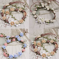 Bridal Hair Wreath, Spun Silk, with ABS Plastic Pearl, Flower, for bridal, more colors for choice, 60mm, Length:20.5 Inch, Sold By Strand