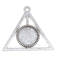 Zinc Alloy Pendant Cabochon Setting, Harry Potter Deathly Hallows Symbol, antique silver color plated, lead & cadmium free, 41x49x3mm, Hole:Approx 2.5mm, Inner Diameter:Approx 15.5mm, Approx 200PCs/KG, Sold By KG