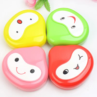 Plastic Contact Lens Case, with Glass, with letter pattern & mixed, 75x80x20mm, Sold By PC