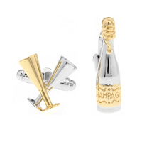 Brass Asymmetric Cufflinks, plated, with letter pattern & two tone, nickel, lead & cadmium free, 10-20mm, Sold By Pair