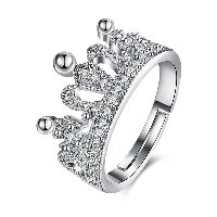 comeon® Finger Ring, Brass, Crown, platinum plated, adjustable & for woman & with rhinestone, US Ring Size:8, Sold By PC