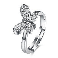 comeon® Finger Ring, Brass, Butterfly, platinum plated, adjustable & for woman & with rhinestone, US Ring Size:8, Sold By PC