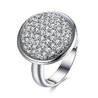 comeon® Finger Ring, Brass, Flat Round, platinum plated, different size for choice & for woman & with rhinestone, 18mm, Sold By PC