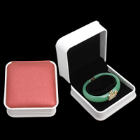 PU Bracelet Box, with Cardboard & Velveteen, Square, two tone, 97x98x50mm, Sold By PC