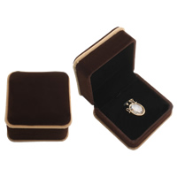 Velveteen Pendant Box, with Cardboard, Square, coffee color, 74x45mm, Sold By PC