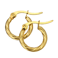 Stainless Steel Hoop Earring, gold color plated, 18x16x2mm, Sold By Pair