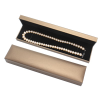 PU Necklace Box, with Cardboard, Rectangle, coffee color, 225x51x39mm, Sold By PC