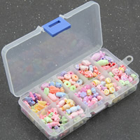 Children DIY String Beads Set, Acrylic, with Plastic Box, 10 cells & chemical wash & mixed, 15x13x2.5mm, Hole:Approx 1-2mm, Sold By Box
