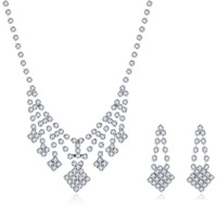Wedding Jewelry Set, Brass, earring & necklace, with rubber earnut, with 1.9lnch extender chain, silver color plated, for bridal & for woman & with rhinestone, 14x35mm,14x30mm, Length:Approx 18 Inch, Sold By Set