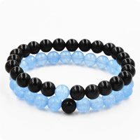 Couple Bracelet, Black Agate, with Aquamarine, natural, March Birthstone & for couple, 8mm, Length:Approx 7.5 Inch, Sold By Set