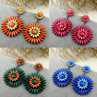 Resin Zinc Alloy Earring, with Resin, stainless steel post pin, Flower, plumbum black color plated, faceted, more colors for choice, lead & cadmium free, 70x44mm, Sold By Pair