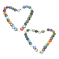 Murano Millefiori Lampwork Necklace, brass spring ring clasp, platinum color plated, for woman, more colors for choice, 13.5x14x3.5mm, 16x14x2mm, Length:Approx 16.5 Inch, Sold By Strand