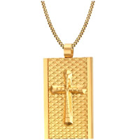 Stainless Steel Pendants, Rectangle, real gold plated, with cross pattern & for man, 24x38mm, Hole:Approx 3mm, Sold By PC