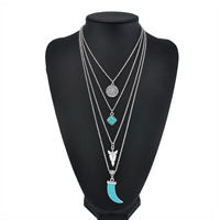 Fashion Multi Layer Necklace, Zinc Alloy, with iron chain & turquoise, platinum color plated, oval chain & for woman & 4-strand & enamel, lead & cadmium free, 18mm, Length:Approx 16.3 Inch, Sold By Strand