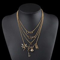 Fashion Multi Layer Necklace, Zinc Alloy, with iron chain, gold color plated, twist oval chain & with letter pattern & for woman & 4-strand & with rhinestone, lead & cadmium free, 170mm, Length:Approx 6.6 Inch, Sold By Strand