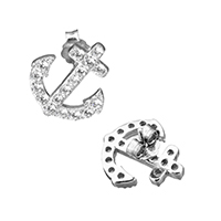 Cubic Zirconia Micro Pave Sterling Silver Earring, 925 Sterling Silver, Anchor, micro pave cubic zirconia, 12.5x14x13mm, Sold By Pair